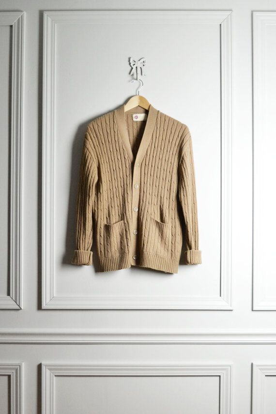 Top Sweater Cardigan / Khaki Beige Cable Knit / Slouchy Pocketed ...