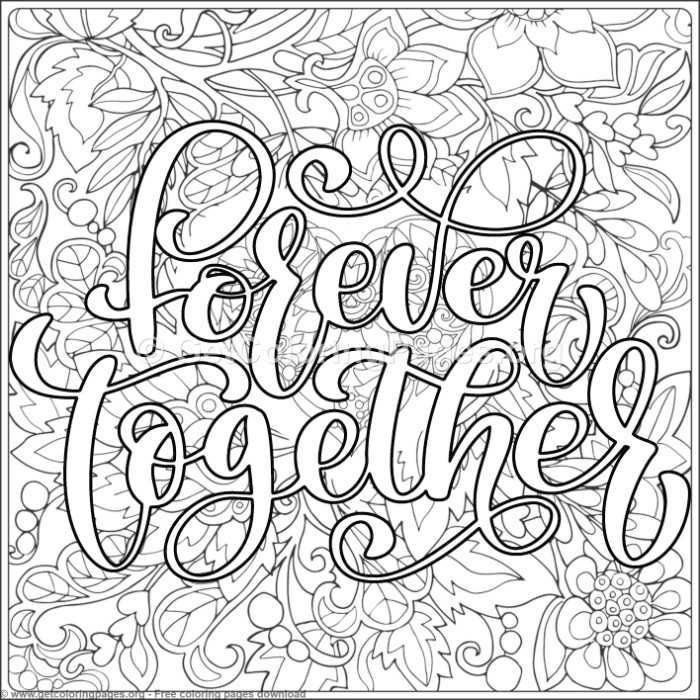 valentines lettering  forever together coloring pages