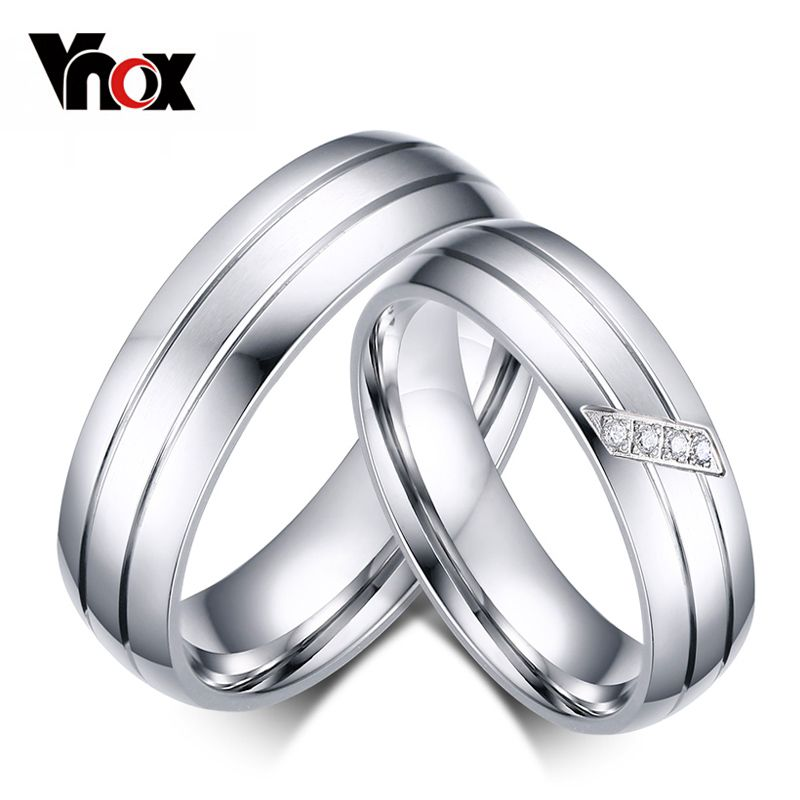 968664a9f3 Vnox Fashion Wedding Rings Stainless Steel Ring Female Male Promise Ring  Cubic Zirconia Couple Jewelry Sales Promotion