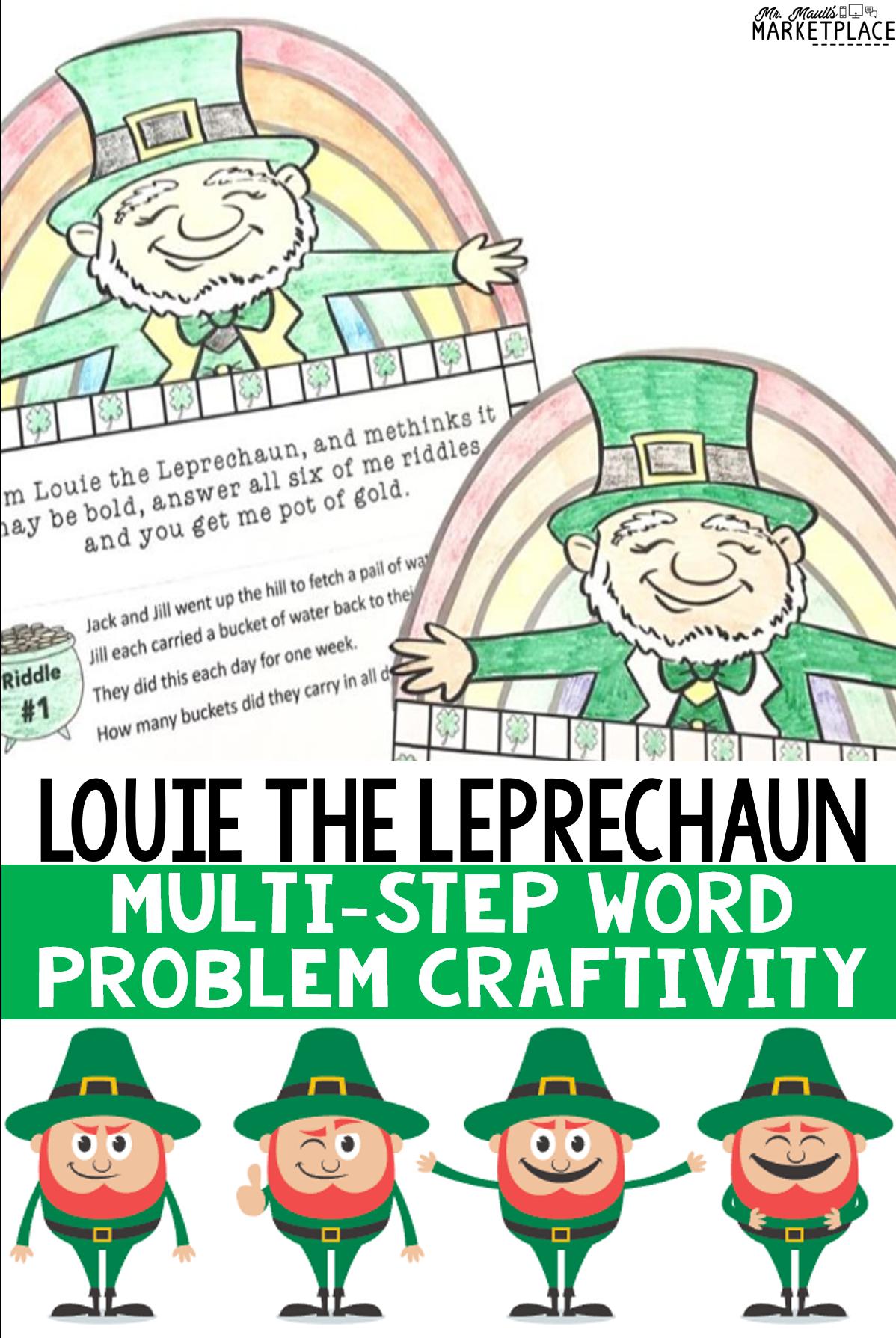 St Patrick S Day Math Multi Step Word Problem Craftivity