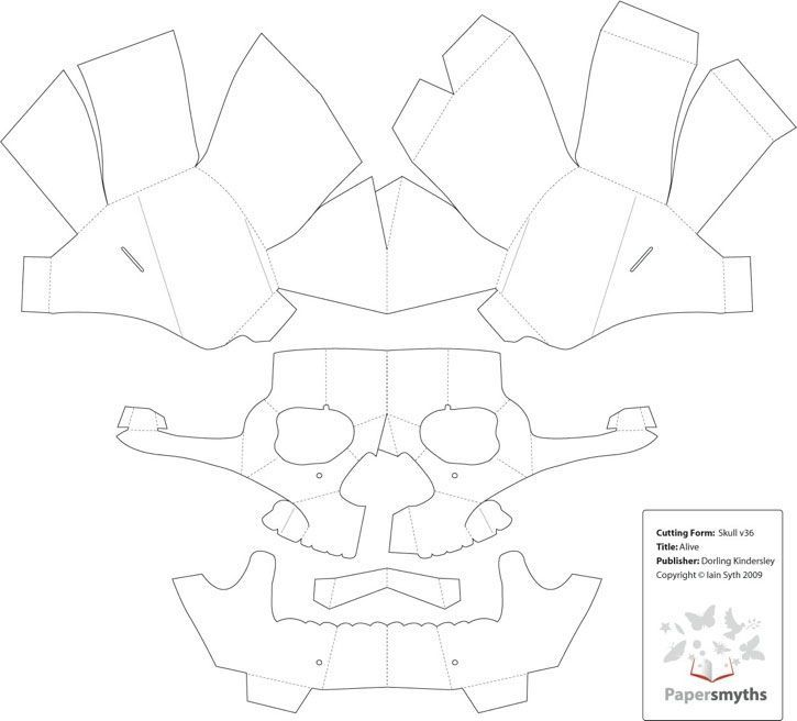 graphic relating to 3d Paper Mask Template Free Printable referred to as 3D Paper Skull Template Artwork Paper mask, Skull template