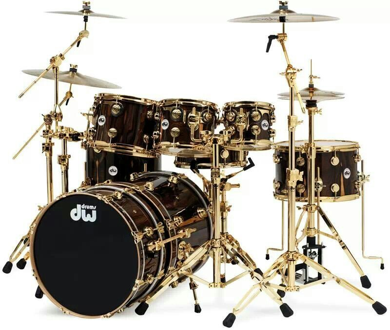 Drum Set Dw Nice Black And Gold Finish Drums Percussion