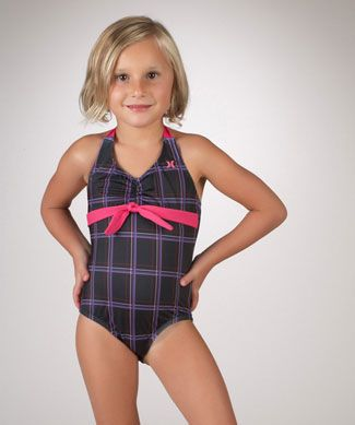 196c5b8404de5 Hurley Kids Black Plaid Puerto Rico 1 Piece Swimsuit - My collection from  top #designers