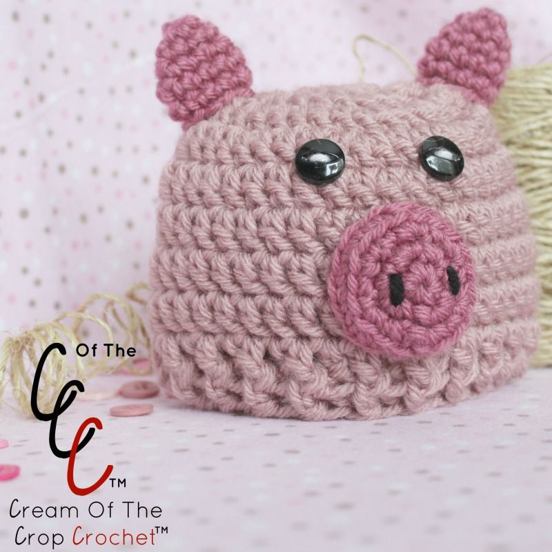 Cream Of The Crop Crochet ~ Preemie/Newborn Pig Hats {Free Crochet ...