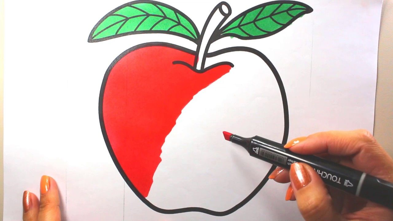apple coloring picture | coloring book fruits | apple coloring pages ...