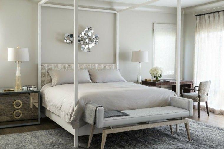 dormitorio matrimonial moderno con cama de madera blanca
