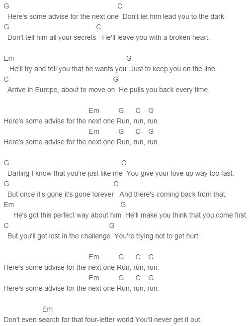 Nicole Scherzinger Run Chords Run lyrics, Nicole
