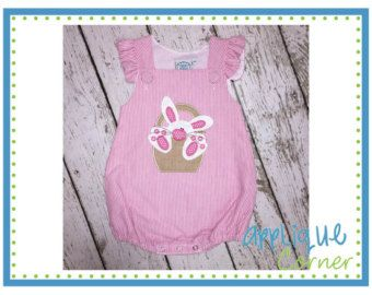 Instant download 2055 bunny in basket applique design in digital