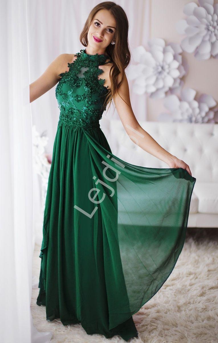 Zielona Dluga Suknia Wieczorowa Z Kwiatami 3d Dresses Evening Dresses Long Evening Gowns