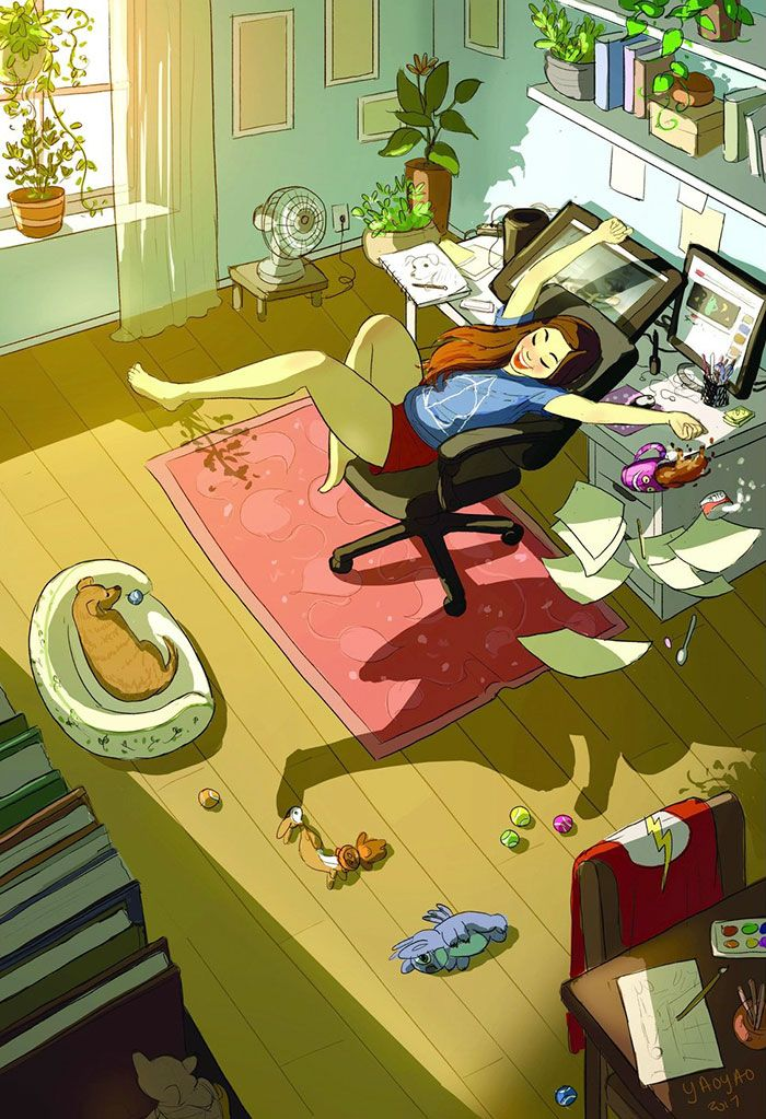 The Happiness Of Living Alone In 10 Perfect Illustrations Alone Art Animation Art Joy Of Living