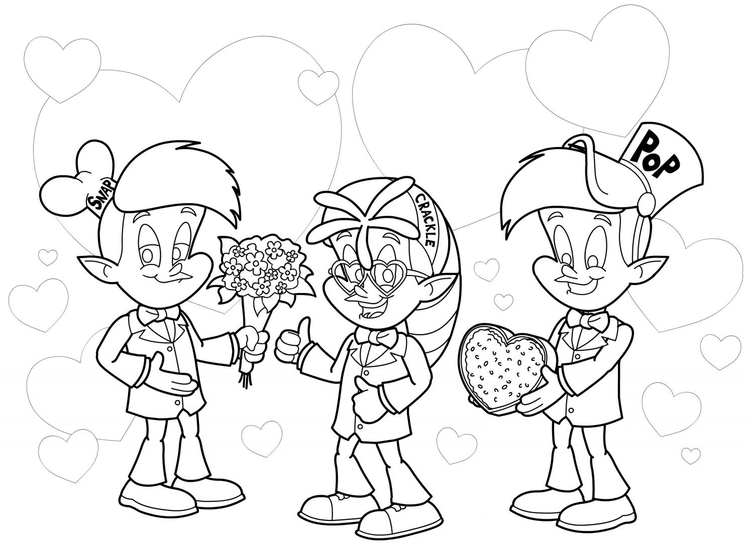 rice coloring pages for kids | rice krispies characters. snap, crackle, pop | Valentines ...