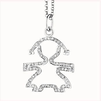 SILHOUETTE - Femminuccia in oro bianco e pavé di diamanti con catenina in oro bianco 18 kt cm 45. Brill. ct 0,13. Altezza cm 1,60 · larghezza cm 1,40.  #lebebe #ciondoli #pave #oro #diamanti