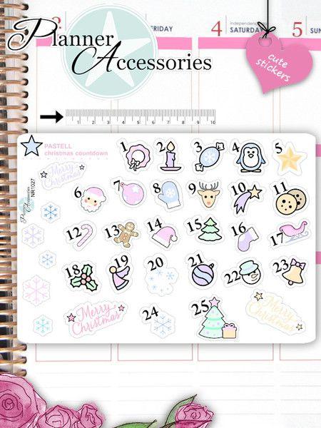 Sticker - Clear Weihnacht Kalender Sticker NR1042 - ein Designerstück von PlannerAccessories bei DaWanda