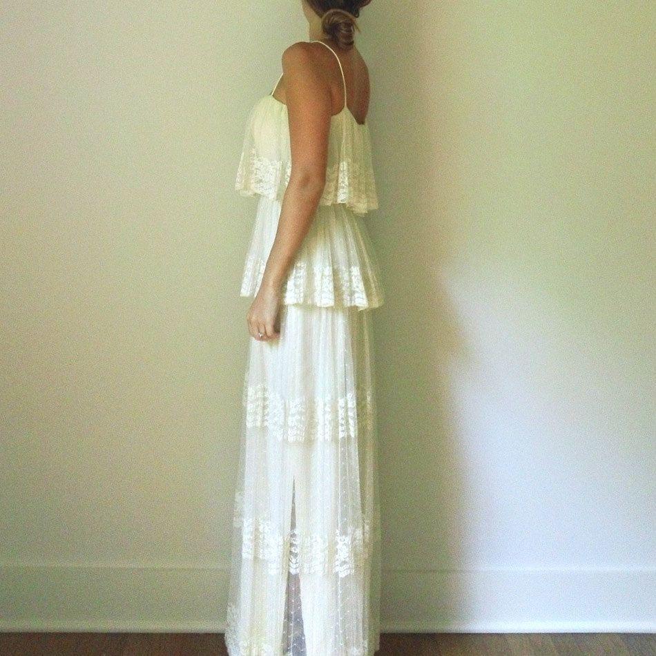 Ivory lace wedding dress s cream boho pleated ruffle peplum