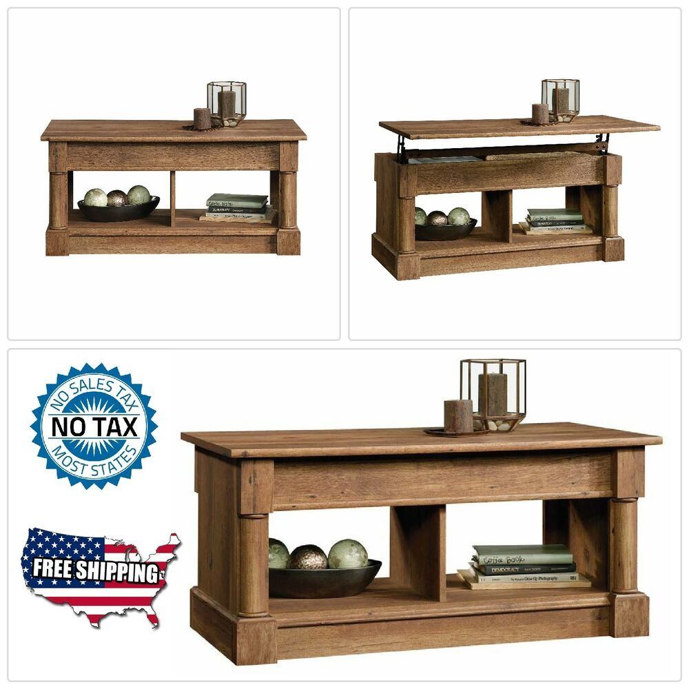 Lift Top Coffee Table Vintage Oak Finish Living Room