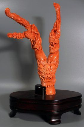 A Chinese Antique Coral Carving