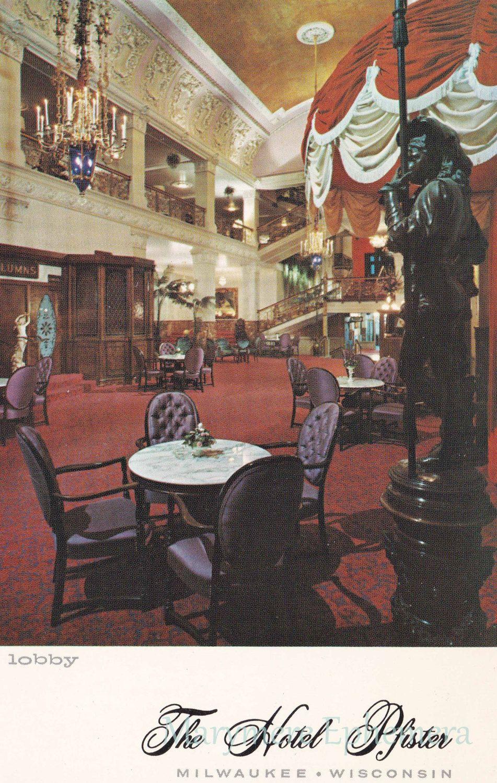 Hotel Pfister Lobby Milwaukee Wisconsin Postcard Vintage