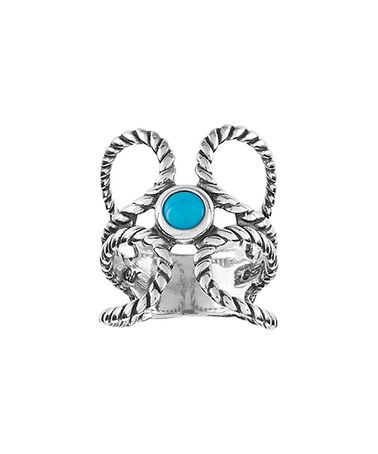 Love this Turquoise & Sterling Silver Rope Ring on #zulily! #zulilyfinds