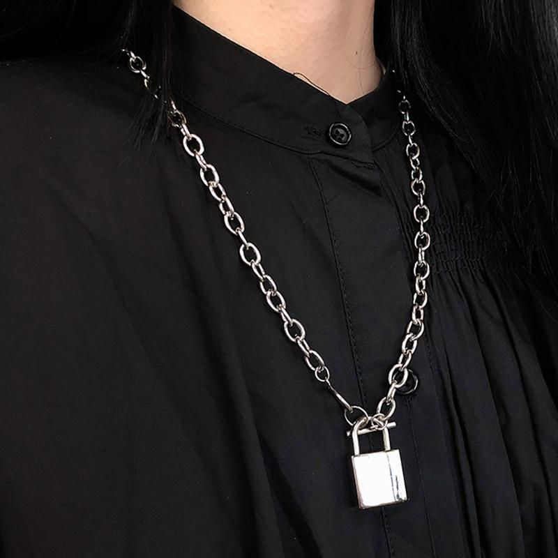 Photo of Grunge necklace –  Lock necklace –  Grunge accessories –  Necklace –  Jewelry model –  Jewelry edit