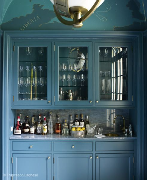 Captivating Color Idea For Butleru0027s Pantry, Or Other Kitchenette. Chinese Blue Cabinets  In A Butleru0027s Pantry And Bar Designed By Miles Redd Nice Design