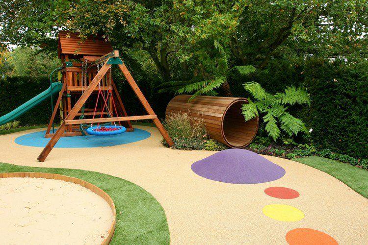 aire de jeux enfant - cabane en bois massif, balançoire et tunnel ...