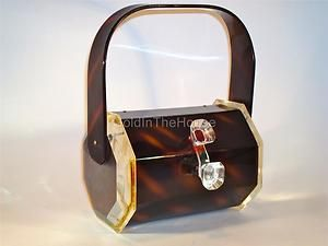 Fabulous Vintage Wilardy Tortoiseshell Clear Lucite Octagonal Hand Bag Purse | eBay