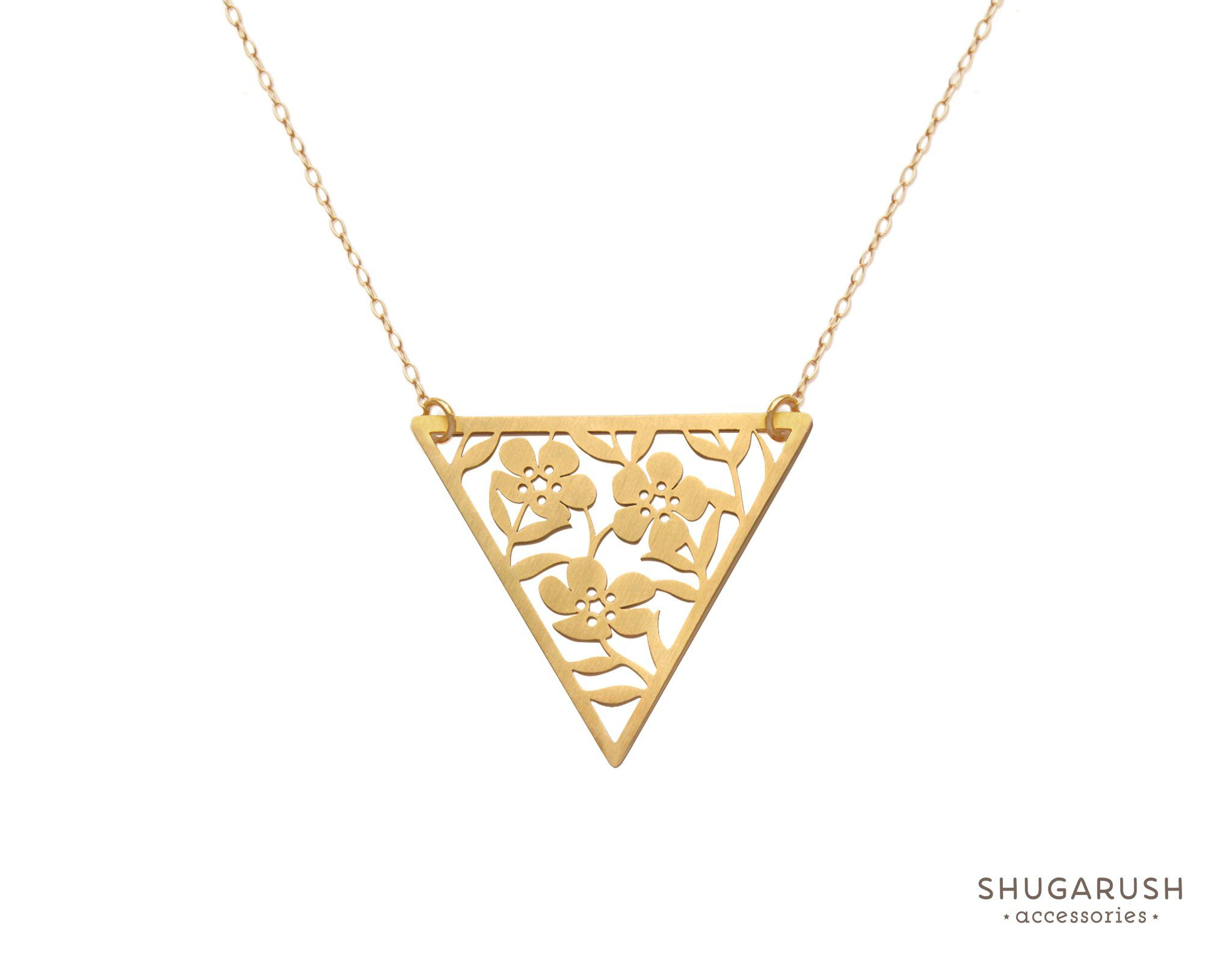 Triangle Lace Flower Gold Necklace | Shugarush Accessories ...