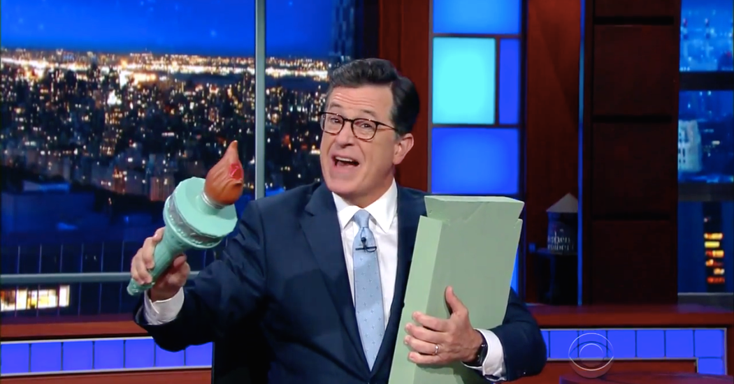 """GIOVANNI RUSSONELLO   Photo              Stephen Colbert read an alternative version of Emma Lazarus's famous poem, """"The New Colossus.""""                                      Credit             CBS                      Welcome to Best of Late Night, a rundown that lets you sleep — and lets us get... - #Amazed, #Colbert, #Endorse, #Stat, #Stephen, #Television, #Trump, #Tv, #Wont"""