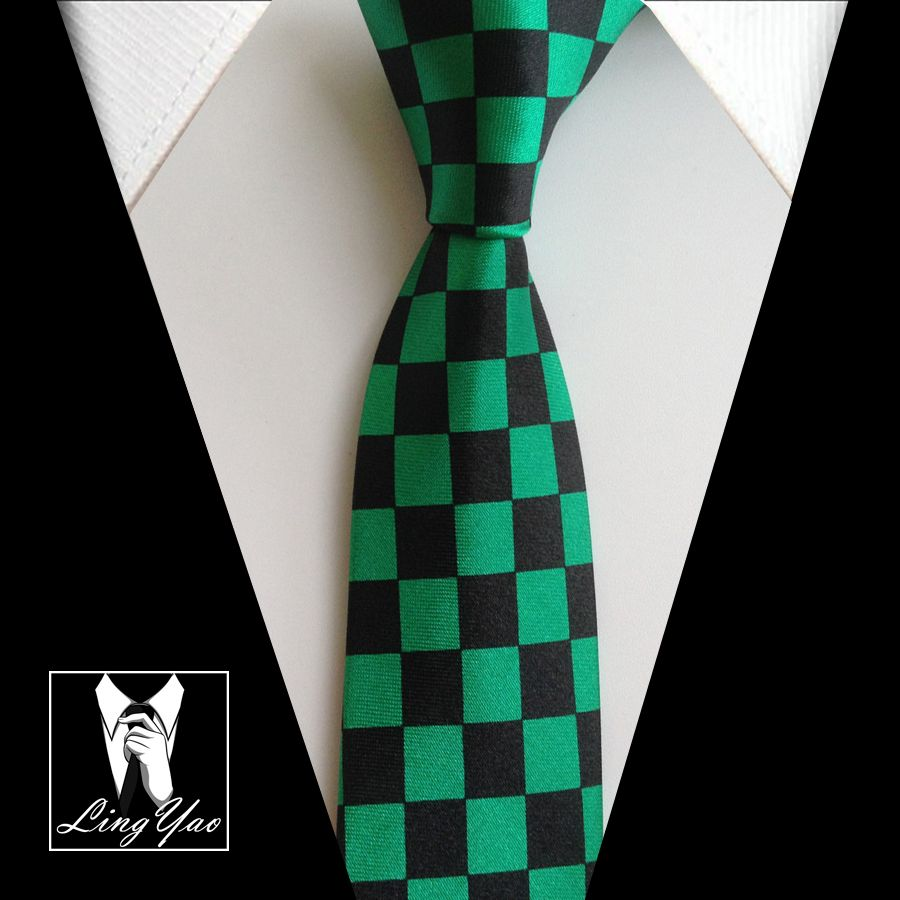 Click to buy ucuc hot fashion narrow ties black with green checkered