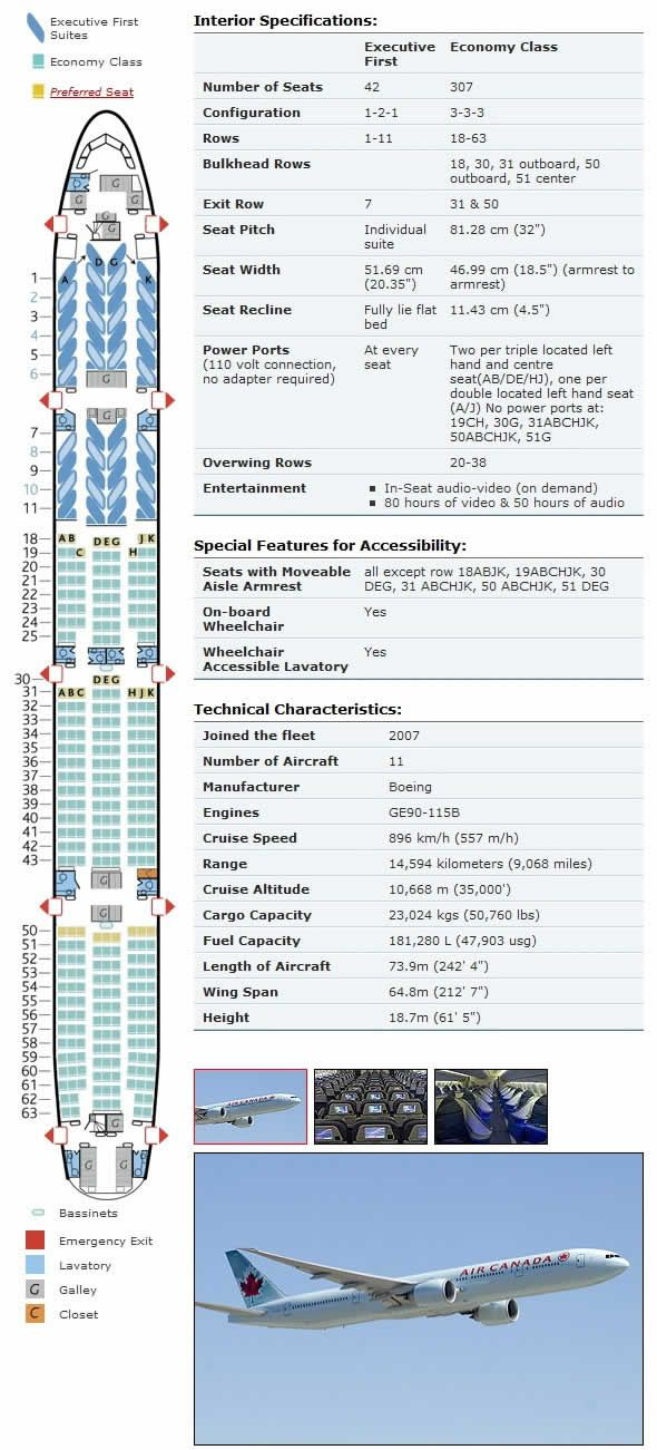 air canada boeing 777 Airline Seating Charts Pinterest