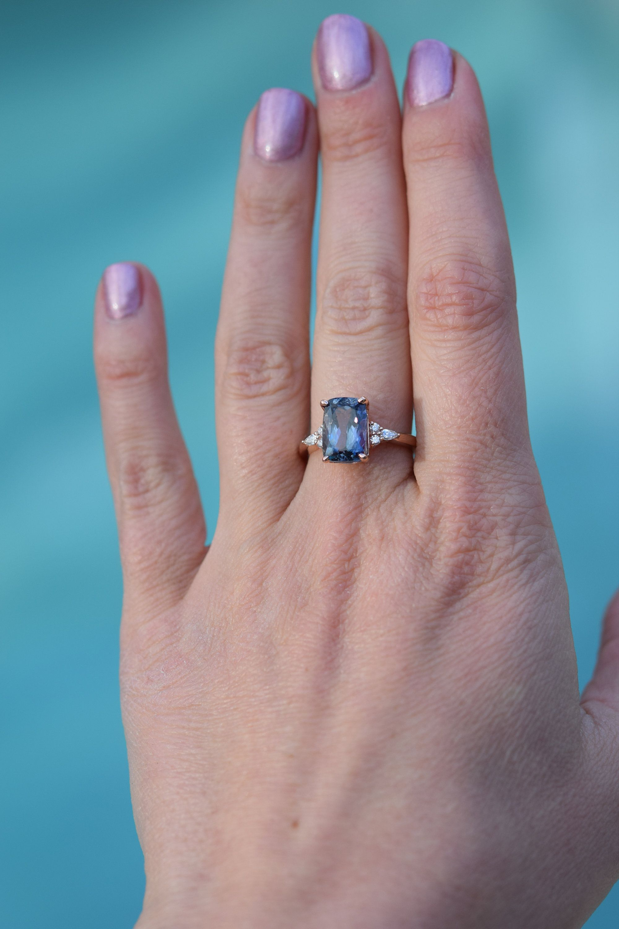Teal tanzanite Rose gold engagement ring. Engagement ring by ...
