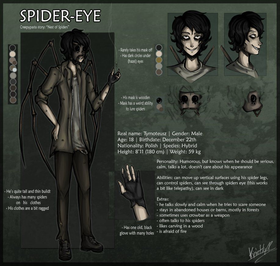 NEW SpiderEye REF (Creepypasta OC) by Kiziotta28