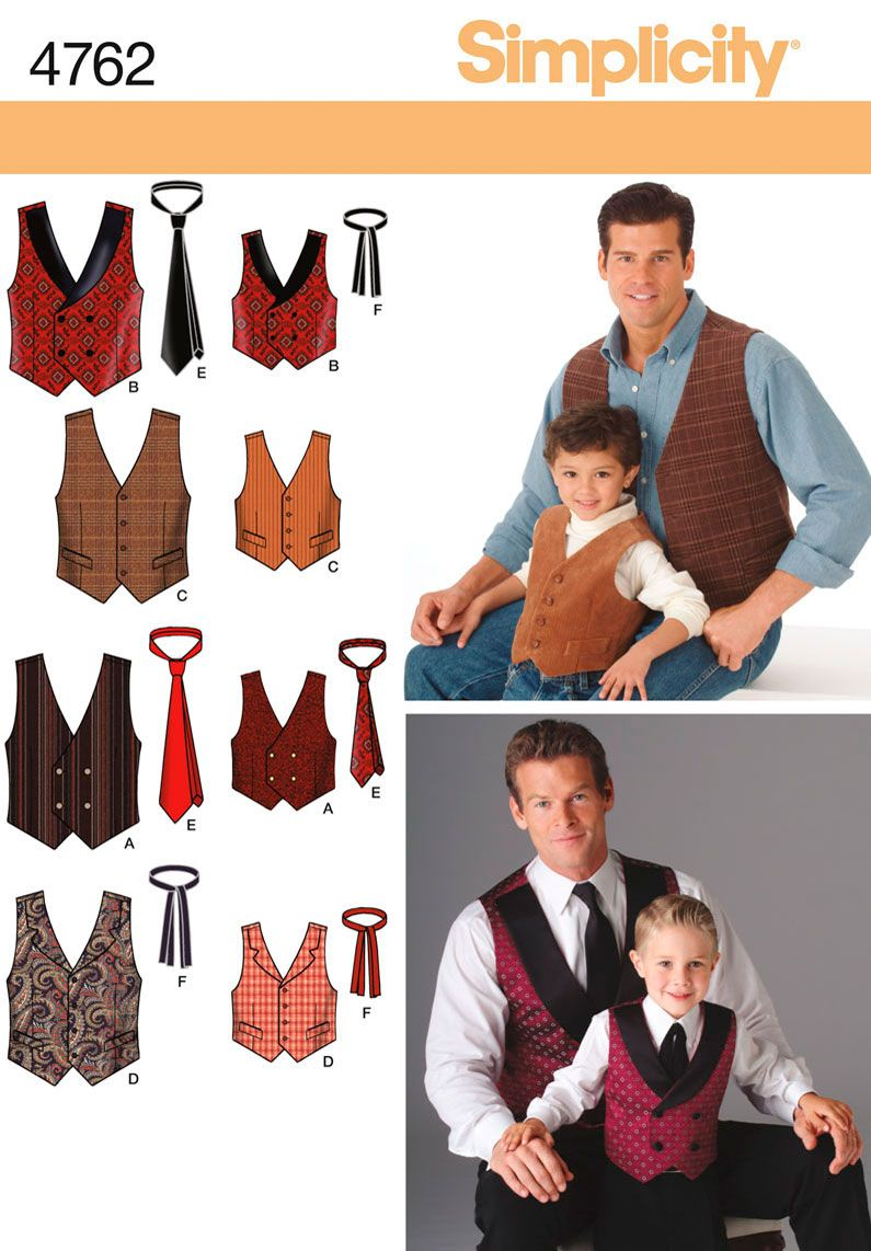 Simplicity Pattern: S4762 Boys & Men Waistcoats & Ties — jaycotts.co ...
