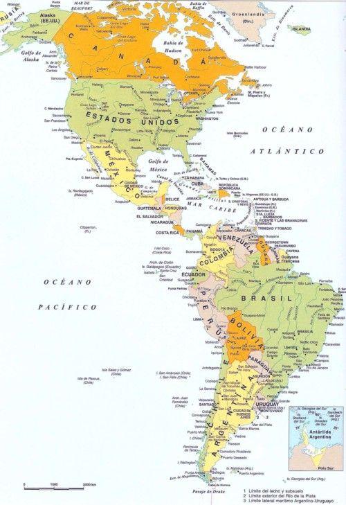 Imágenes De Las Banderas Mapas Paises Y Capitales De América Del Norte Sur Y Central America Map South America Map North America Map