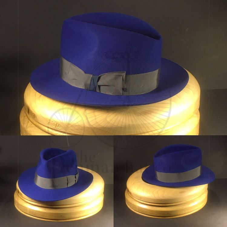 2e55a38f6 Just finished this royal blue bespoke fedora with vintage grey ...