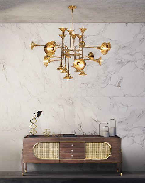 Botti Art Deco Vintage Brass Chandelier | DelightFULL Trends 2017 | For more inspirations visit and follow: www.delightfull.eu
