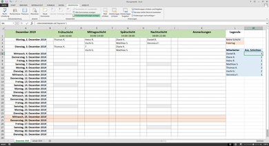 Beispiel Fur Einen Excel Dienstplan In 2020 Dienstplan Dienstplan Erstellen Planer