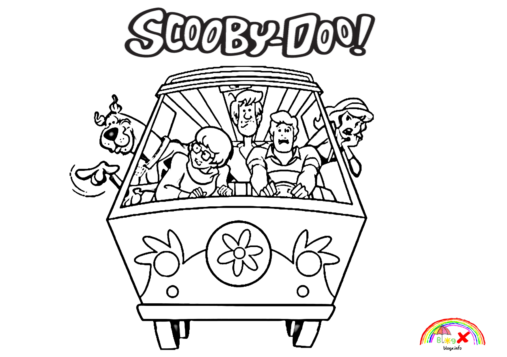 Scooby Doo And The Mystery Machine Coloring Page