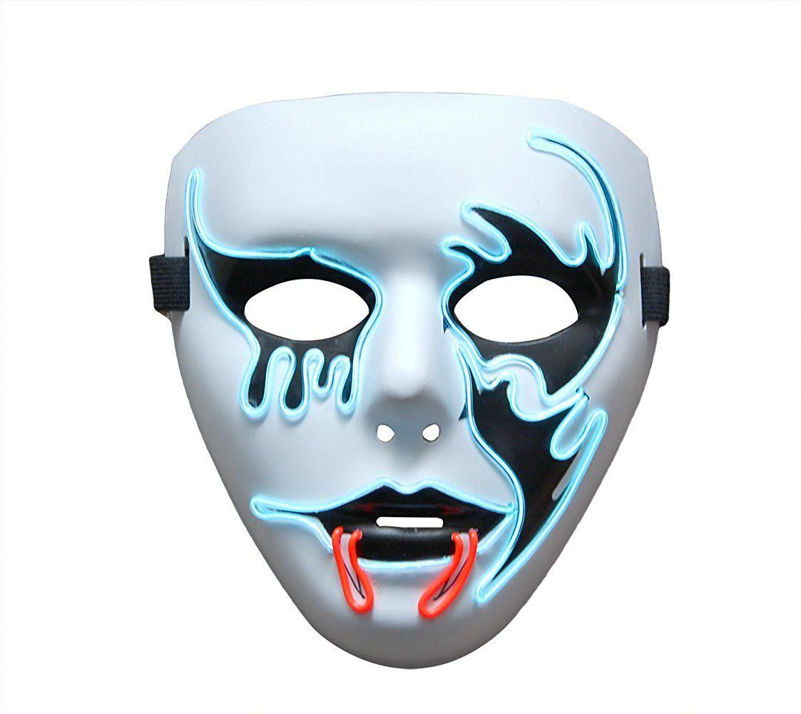 Amazon.com: Halloween Scary Mask,heytech Cosplay Led Costume Mask EL ...