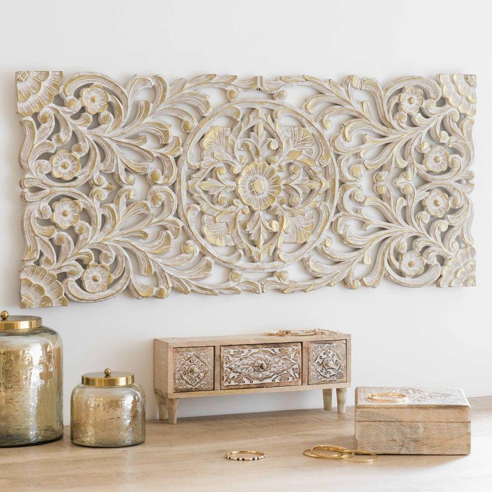 Deco Murale Doree Et Blanchie 10046 Maisons Du Monde En 2020 Idee Deco Orientale Deco Murale Deco Salon Marocain