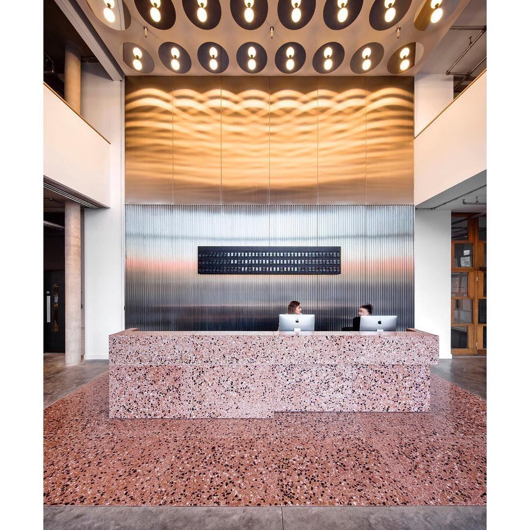 Pink reception desk terrazzo terrazzodesign flooring for Hotel decor for sale