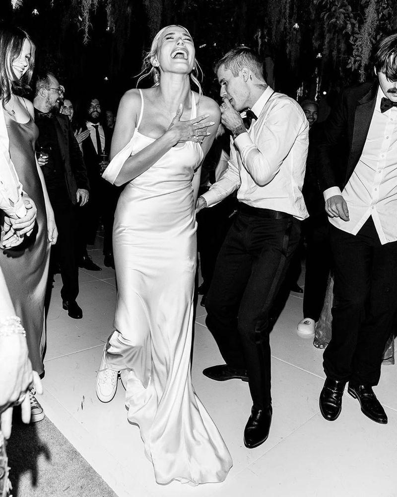 Hailey Bieber Rocking Sneakers With Her Custom Vera Wang Wedding
