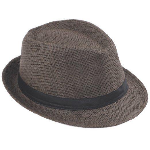 V-SOL Sombrero de paja de lino marrón para verano. Gorro para playa Unisex   hombre  mujer  sombrero c9eecacf5fa2