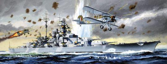 KMS Bismarck under air attack