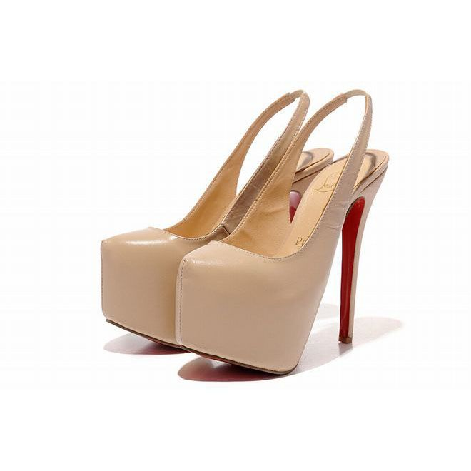 fefb20746343 Apricot Christian Louboutin Dafsling 160mm Leather Slingbacks Red Sole Shoes