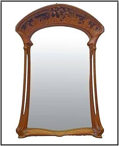 art nouveau miroir moulur sculptures 39 cl matites 39 noyer jacques gruber 1903. Black Bedroom Furniture Sets. Home Design Ideas