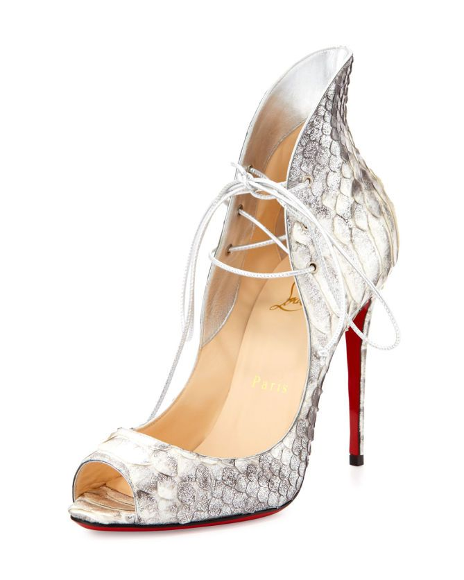 Christian Louboutin Mega Vamp Python Lace-Up Red Sole Pump, Gray | Buy ➜ http://shoespost.com/christian-louboutin-mega-vamp-python-lace-up-red-sole-pump-gray/