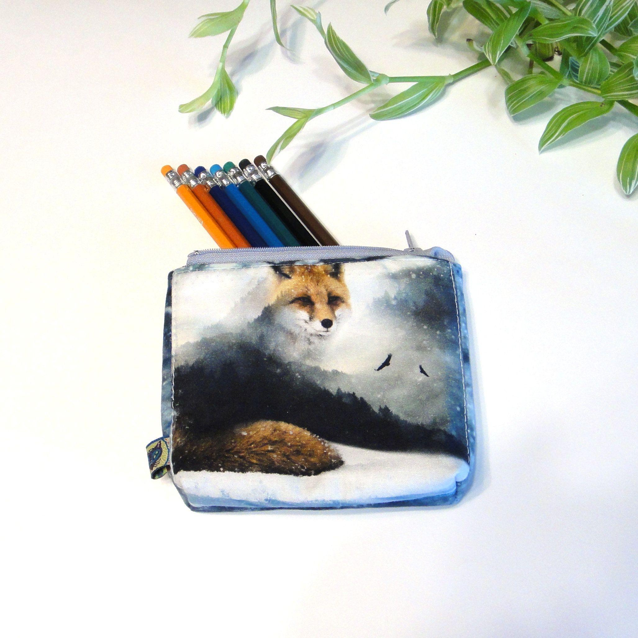 Fox coin purse, Small makeup bag, Zipper pouch in cotton