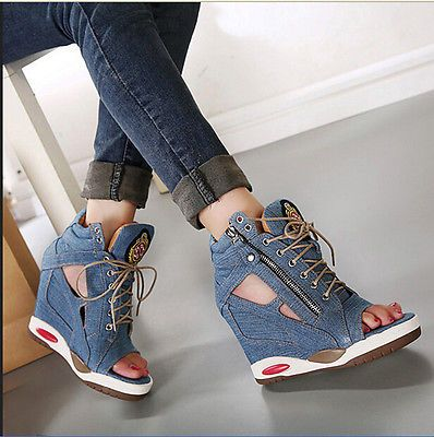 Womens peep toe lace up platform invisible wedge high heel