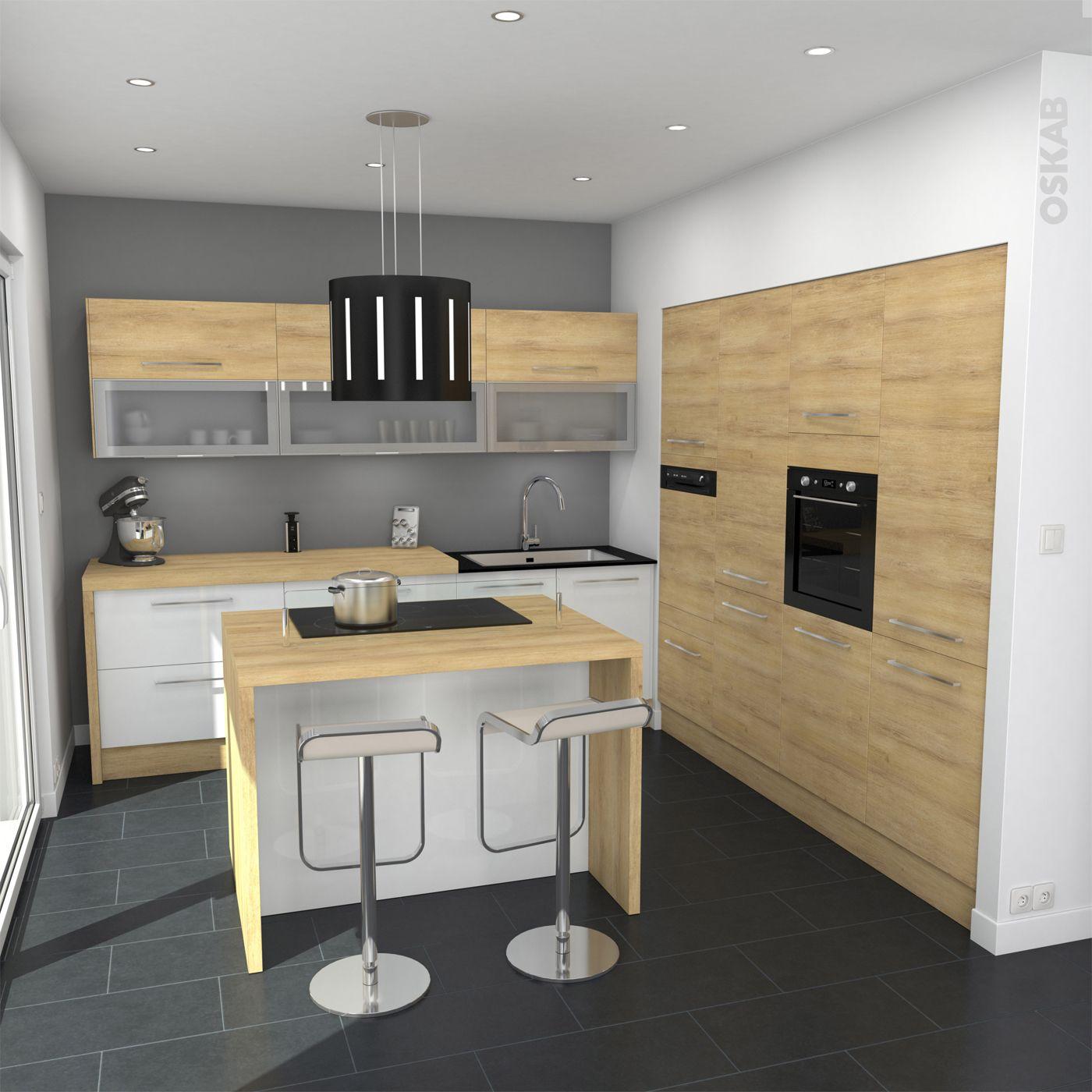 cuisine blanche et bois design et chaleureuse implantation en l avec lot central snack - Modele De Cuisine Blanche